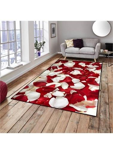 Halı Kırmızı Gül Yaprakları Dekoratif 3D Salon Halıları 80X150Cm Renkli